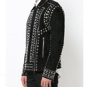 Studded Suede Biker Jacket Black St..