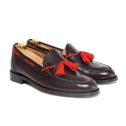 Handmade Tassel Loafer Leather Crim..