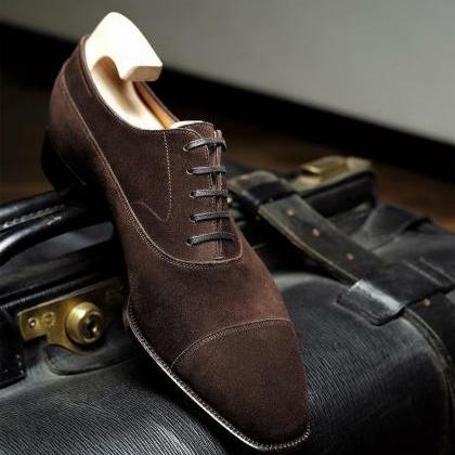 Handmade men Brown color Suede Shoe..