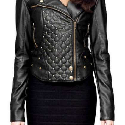 Made To Order Black Biker Quilted G..