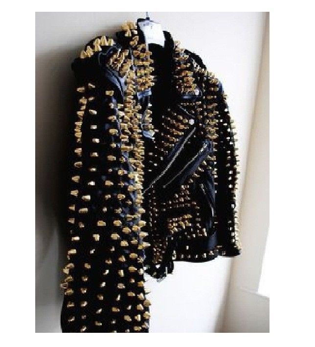 Womens Golden Studded Brando Style Black Premium Leather Jacket New Design,Sizes