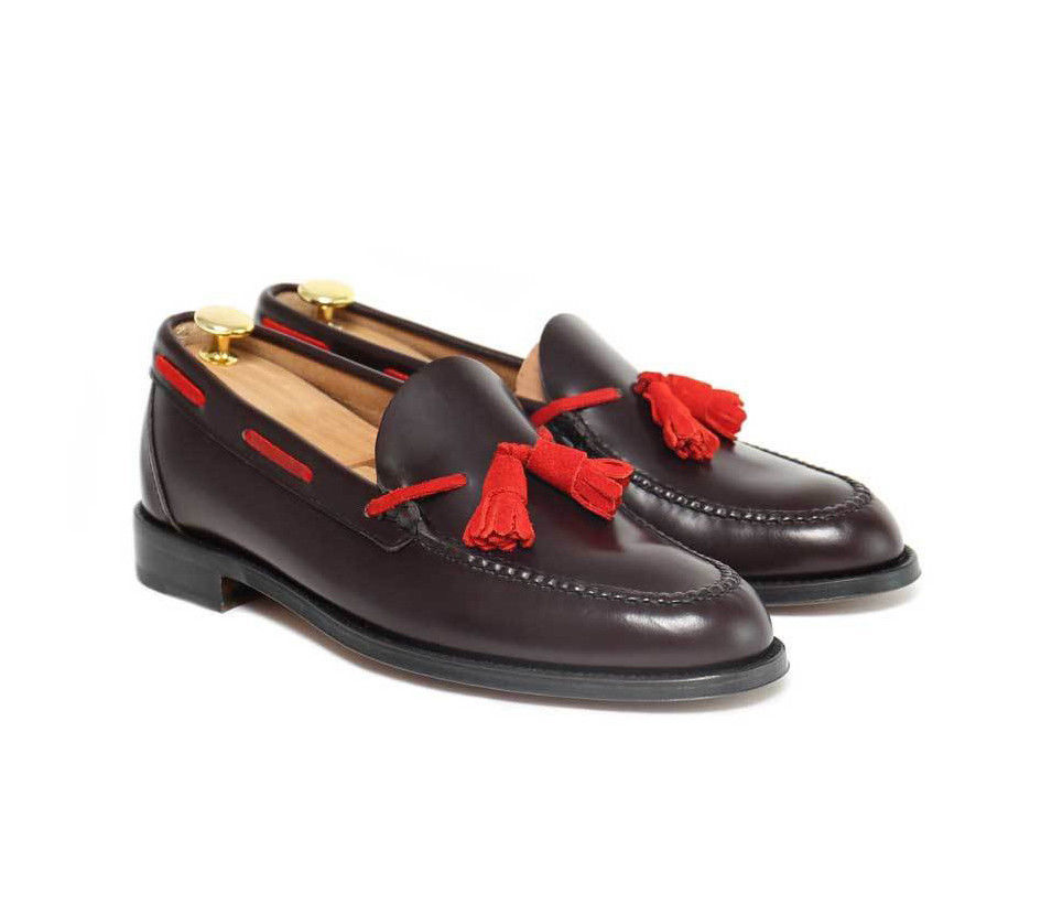 Handmade Tassel Loafer Leather Crimson Red Shoes Groom wedding Shoes For Men