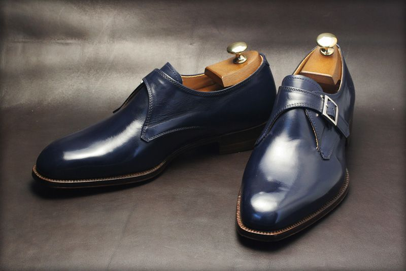 Men,s Handmade Blue formal monk Shoes, Men Blue dress shoes, Men leather shoes