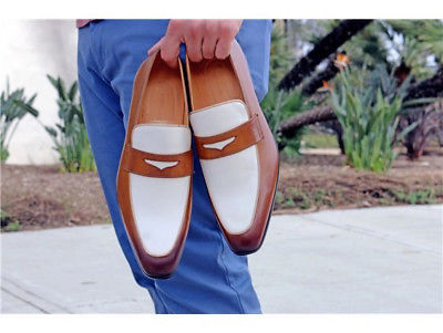 Handmade men two tone spectator shoes, men tan and white dress leather shoes