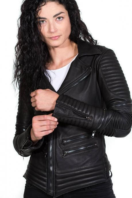 Handmade Women's black leather moto biker jacket with silver hardware