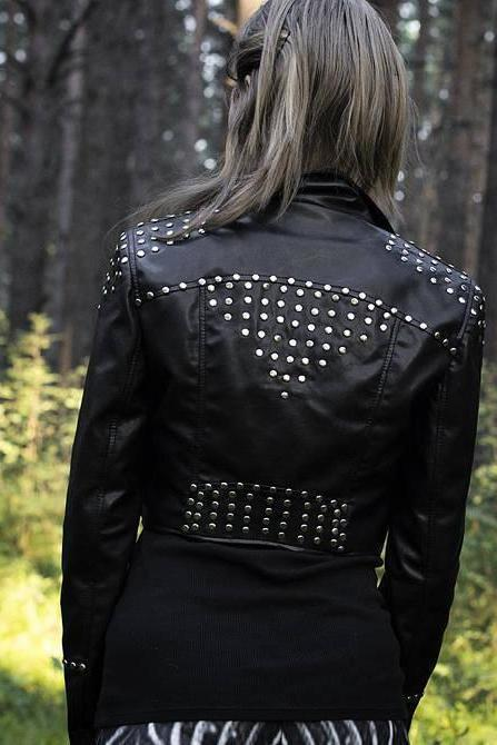 Leather studded crop Jacket. Vegan Leather Rocknroll Metal Goth Punk Rock Jacket