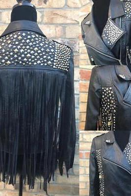 Black studded Women leather biker jacket customized studded chains & Fring style