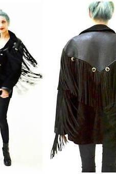 Handmade Women Black Western Leather Jacket Fringe Made to order