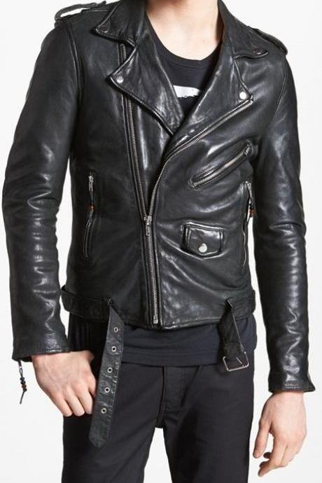 MENS LEATHER JACKET, MENS BLACK JACKET, MEN'S BIKER LEATHER JACKET, MEN BELTED J