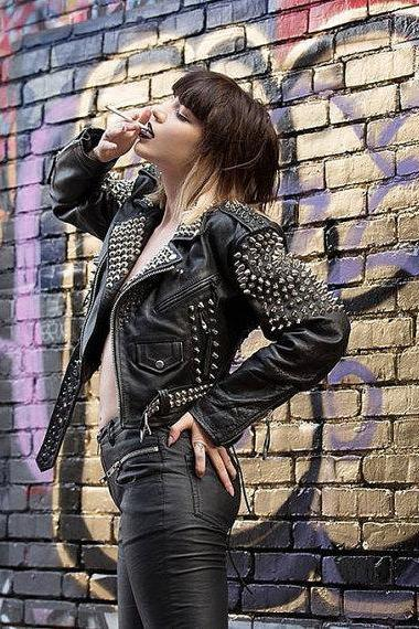Women's Pure Silver Studded Brando Style Black Leather Jacket Made to order