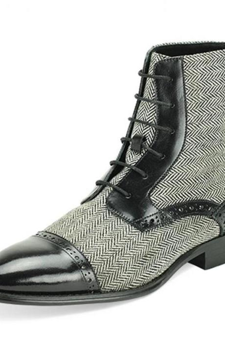 Handmade men black leather boots,Grey tweed fabric boot for men, formal dress