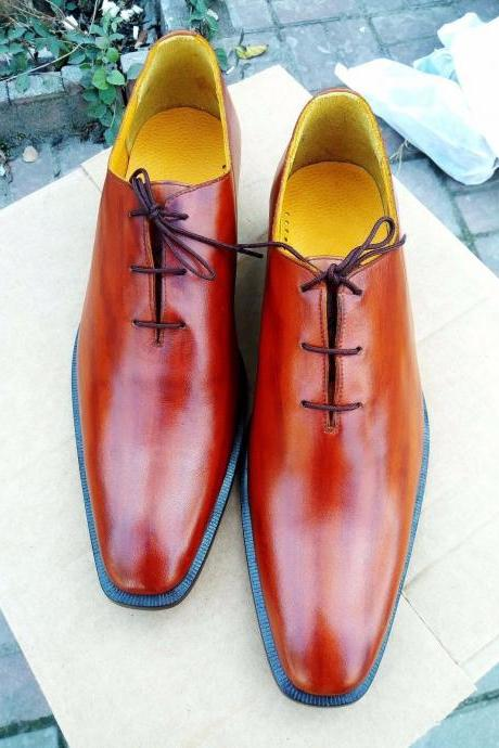 Handmade Oxford Formal Men Shoes, Leather Tan Shoes Wedding Shoes Whole Cut shoe