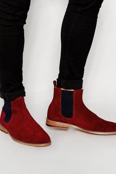 Handmade Red New Leather Boot Suede Chelsea Boots Men Ankle Leather Boot