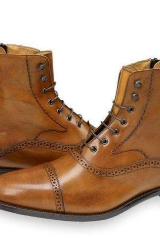 Handmade Mens fashion Tan color ankle boot, Men leather lace up boots, Men boots