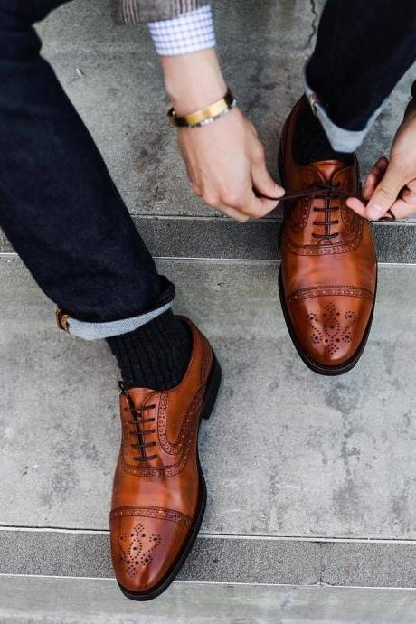 Custom Handmade Brogue Style Brown Genuine Leather Shoes, Men leather Shoe Laces