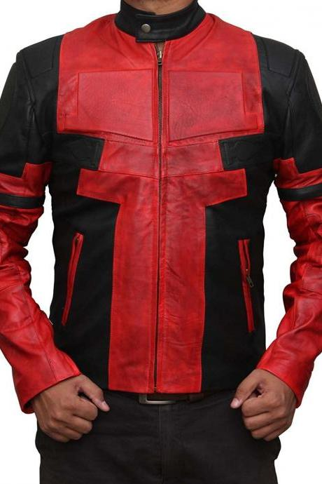 New Handmade Deadpool Leather Jacket in Red and Black Leather- Deadpool Movie Ja