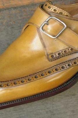 Handmade Men Wing Tip Tan Color Monk Shoes, Men Formal Leather Shoes