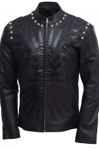 Studded Leather Jacket Men Black Designer Made to Order All Sizes Hot Sale