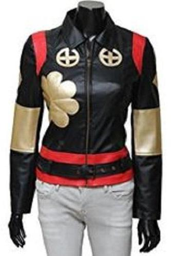 New Handmade women black red leather Jacket, women Stylish Flower Leather Jacke