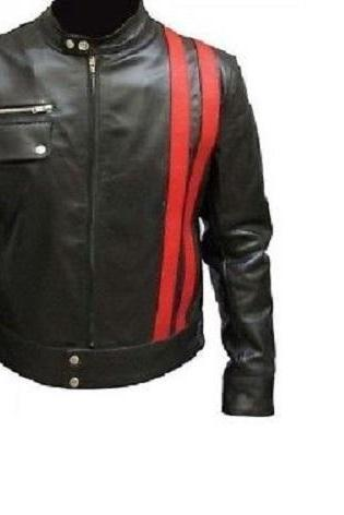 Designer Biker Real Leather Jacket Black Men's red stripes CE Pads all sizes