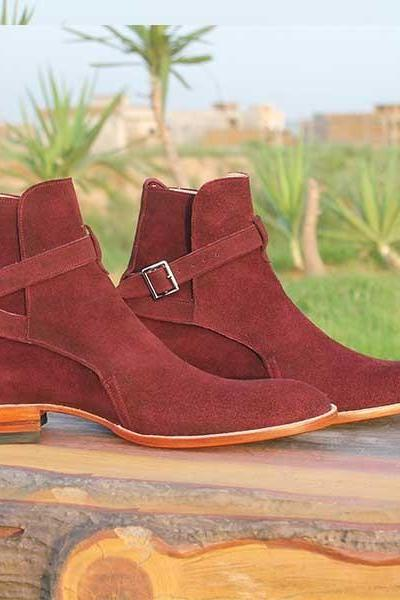New Handmade jodhpurs ankle boot, Men Maroon ankle high suede leather boot, Men