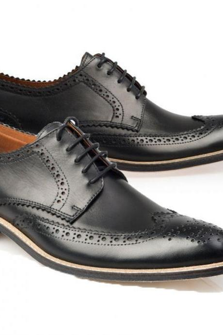 Handmade Black Oxford Shoes Formal Brogue Wing Toe Fashion Office Shoes Men