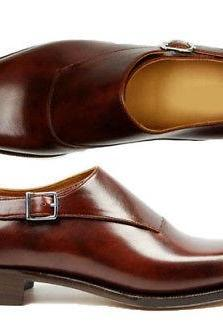Handmade Monk Leather Shoes, Men Burgundy Formal Dress Trendy Single Strap Shoes