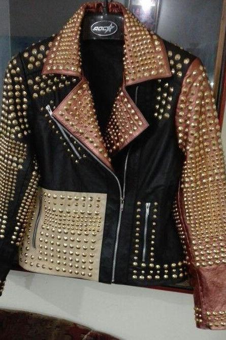 NEW WOMAN PHILIP PLEIN GOLDEN FULL STUDDED LEATHER JACKET XS TO 6XL