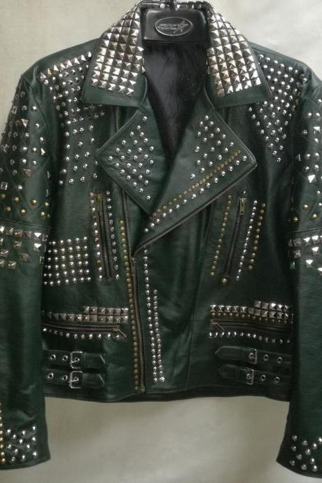 NEW MEN'S GREEN ROCKY FULL MULTI STUDDED CHAINS LEATHER COAT JACKET