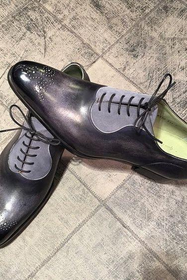 Handmade Men two tone shoes, Men spectator shoes, Men gray and black dress shoes
