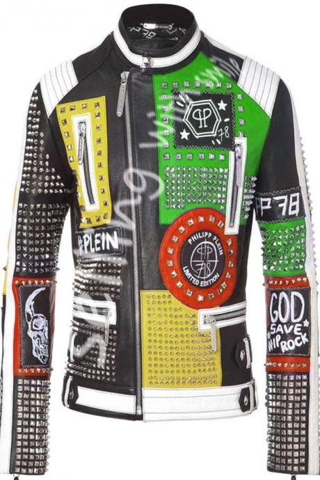 New Philipp Plein Multicolor Customize Studded Leather jacket Embroidery Patches