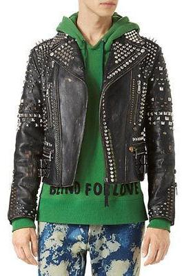 Biker Studded Jacket Stylish Black Premium Leather All Sizes Available Men