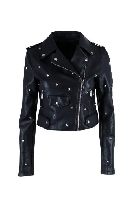 New Woman Punk Style Star Studded Leather Jacket XS TO 5XL