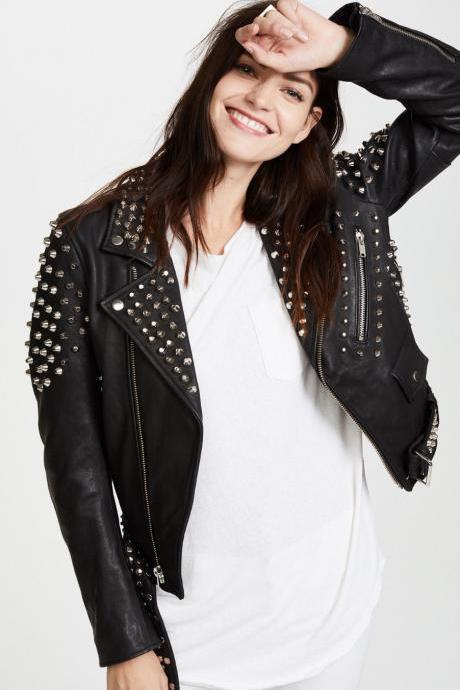 NEW ROCKY STYLE WOMAN STUDDED LEATHER JACKET ALL SIZES