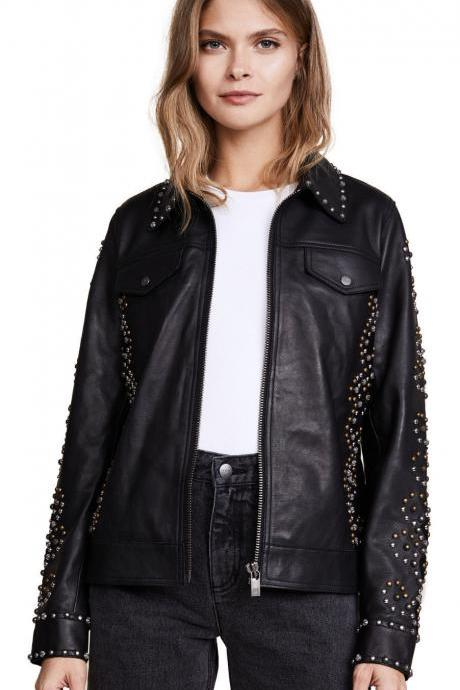 WOMAN CLASSIC STYLE FULL STUDDED LEATHER JACKET XS TO 5XL