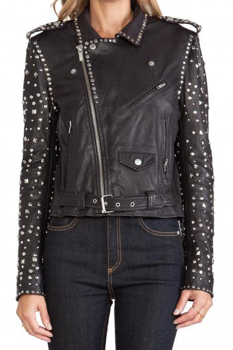 WOMEN PUCK ROCK REAL SILVER STUDDED LEATHER JACKET ALL SIZES