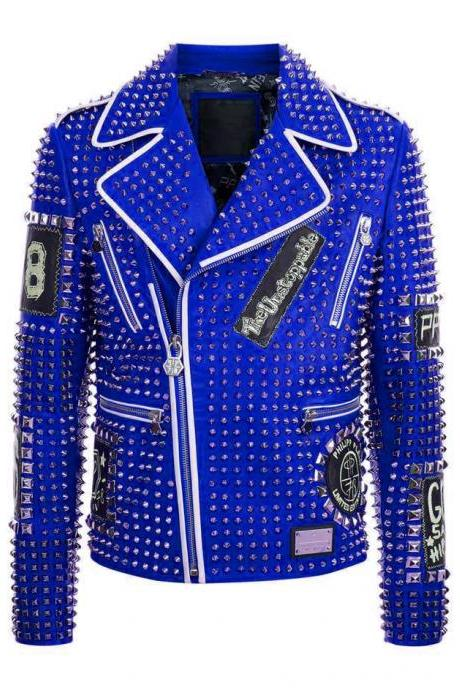 Handmade Philipp Plein Full Blue Studded Emroidery Patches Leather jacket