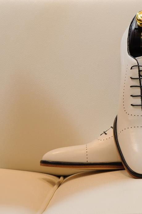 New Handmade Classic Style Real Leather White Formal Shoes, men leather shoes