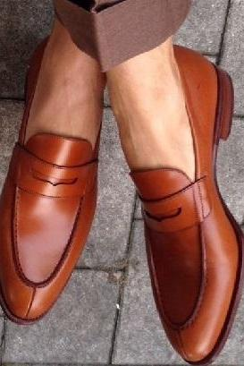 New Handmade Latest Style Brown Real Leather Shoes, Men leather Shoes