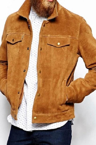 New Mens Brown Suede Leather Jacket Slim fit Biker Motorcycle Size XS to 6XL