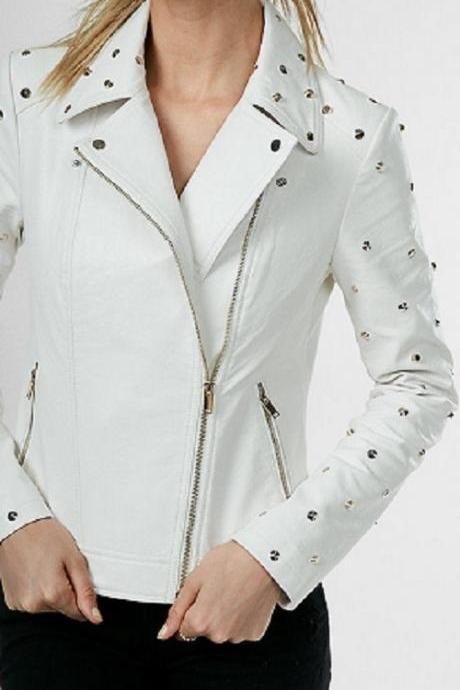 New Leather Jacket for Women White Studded Biker Motorcycle All Size
