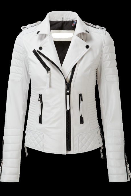 New White Leather Jacket Women Quilted Biker Motorcycle Slim Fit All Size