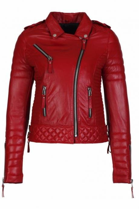 New Red Leather Jacket Women Quilted Biker Motorcycle Slim Fit All Size