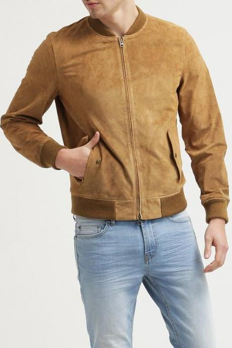 Mens Brown Suede Leather Jacket Flight/Bomber Slim Fit Custom Made All Size