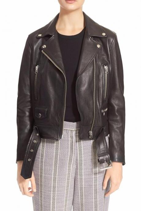 Womens Black Leather Jacket Biker Motorcycle Genuine Lambskin All Size