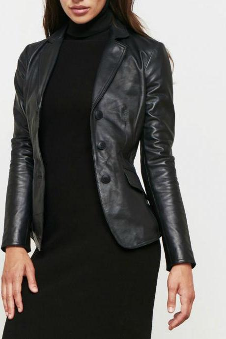 Women Black Leather Blazer Formal Slim Fit Genuine Lambskin Jacket All Size