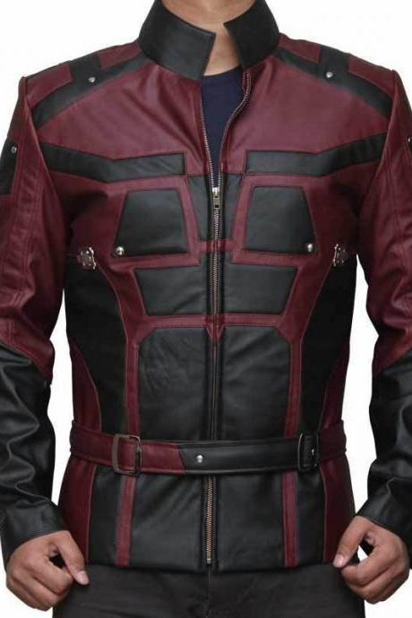 Daredevil Matt Murdock Red and Black Leather Jacket Halloween Jacket Cosplay MTM