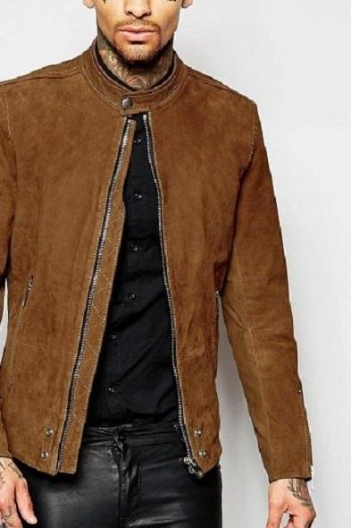 Suede Leather Jacket Brown Men Biker Motorcycle Slim Fit All Size