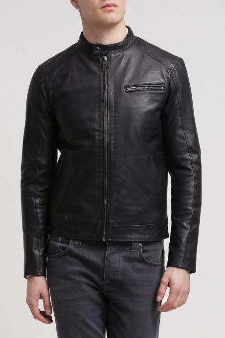 Genuine Black Leather Jacket New Men Slim fit Biker Motorcycle All Size