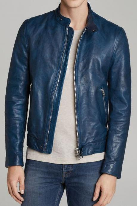 Leather Jacket for Mens Blue Biker Motorcycle genuine Lambskin All Size